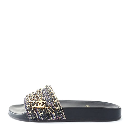 Chanel Flip Flop Mules Tweed Chain 36