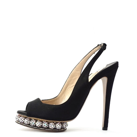 Nicholas Kirkwood Peeptoe Sandals with Crystal Platform 36.5