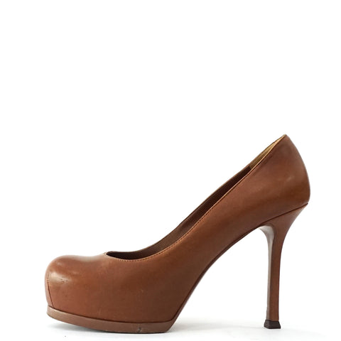 YSL Brown Tribtoo Platform Pumps 36.5