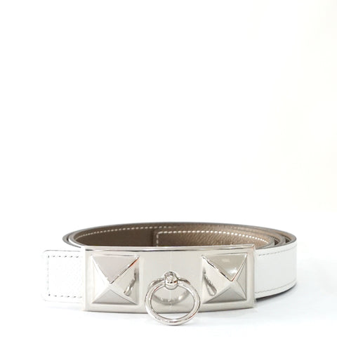 Brand New Hermes CDC Belt Etoupe-White Epsom PHW