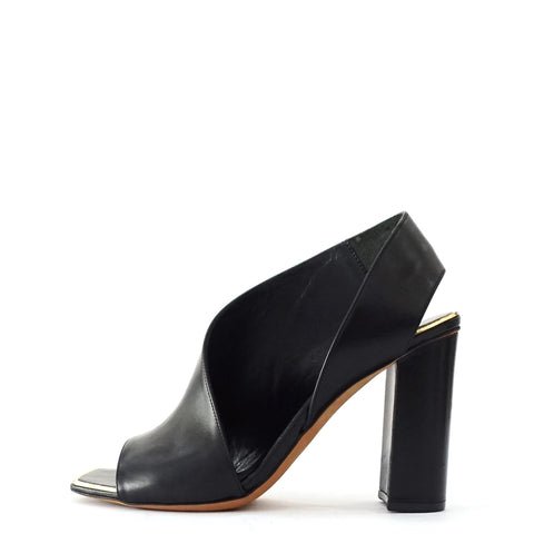 Celine Peeptoe Black Leather Sandals 36
