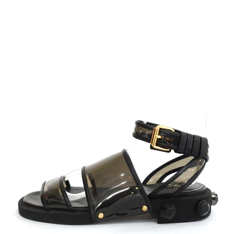 Givenchy Black Vinyl and Leather Embellished Ankle Sandals 35