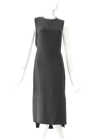 3.1 Phillip Lim Stone Collar Dark Grey Backless Dress 0