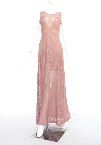BCBG Maxazria Dusty Pink Lace Maxi Dress XS