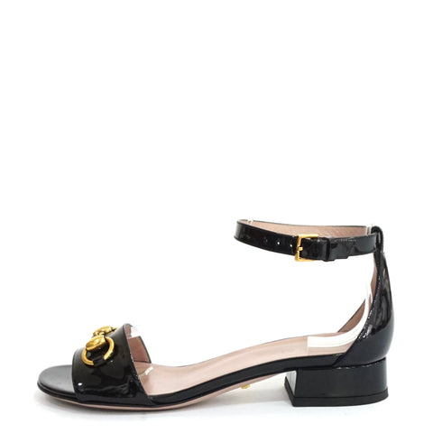 Gucci Black Patent Horsebit Ankle Sandals 35
