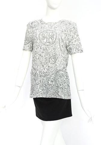 Tory Burch Black and White Printed T-Shirt S