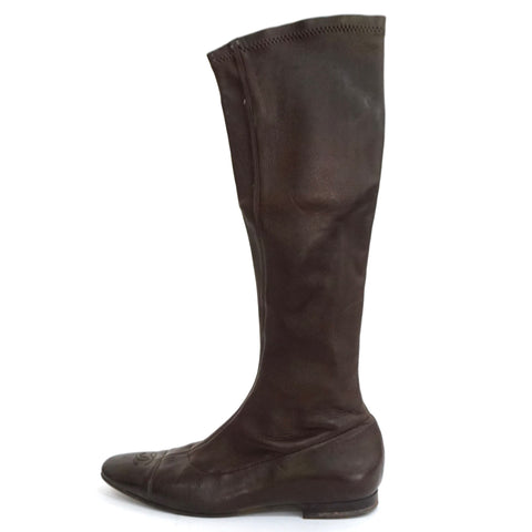 Chanel Brown Midcalf Boots 38
