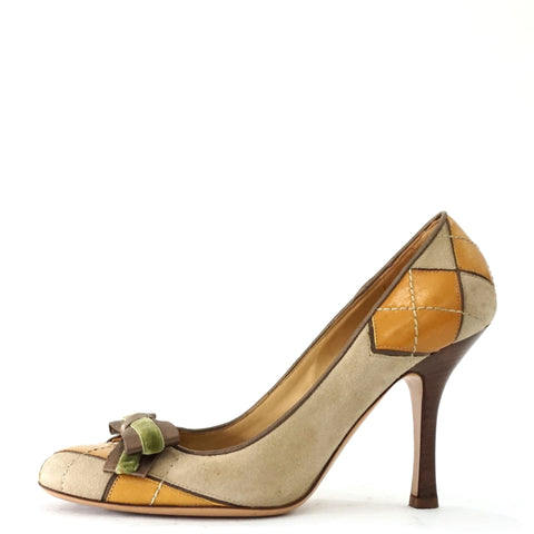 Valentino Garavani Beige-Yellow Bow Pumps 37