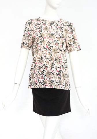 Tory Burch Black and Pink Floral Printed T-Shirt S