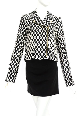 Diane Von Furstenberg Black and White Crop Jacket 4