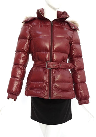 Burberry Maroon Down Puffer Jacket with Waist Belt 38