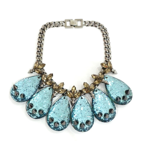 Mawi Blue Crystal Leaf and Spike Necklace