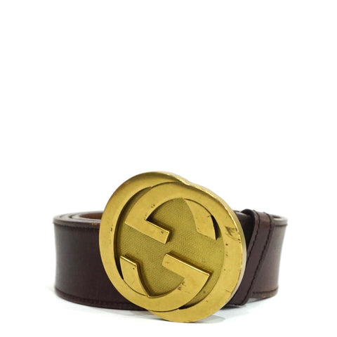 Gucci Brown Leather Gold GG Belt