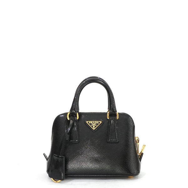 e61e06bd69ab Prada Mini Saffiano Black Vernice Promenade Crossbody Bag – The ...