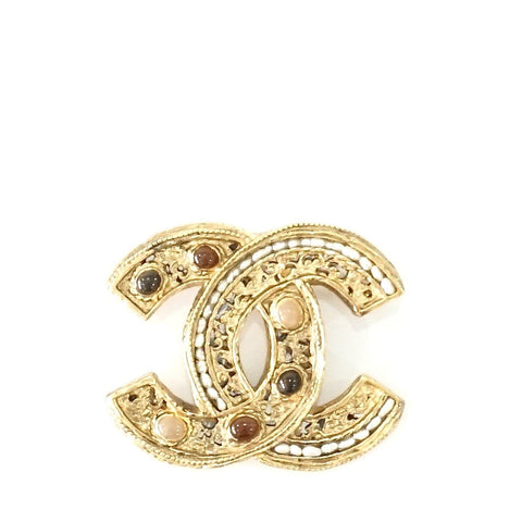 Chanel Gold with Stone Brooch Pin Large