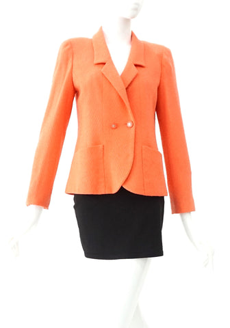 Chanel Coral Tweed Blazer 34
