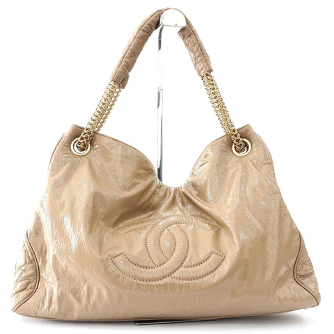 Chanel Beige Patent Leather Hobo Bag