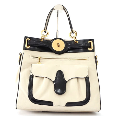 Balenciga Lune Light Beige-Black Leather Tote Bag