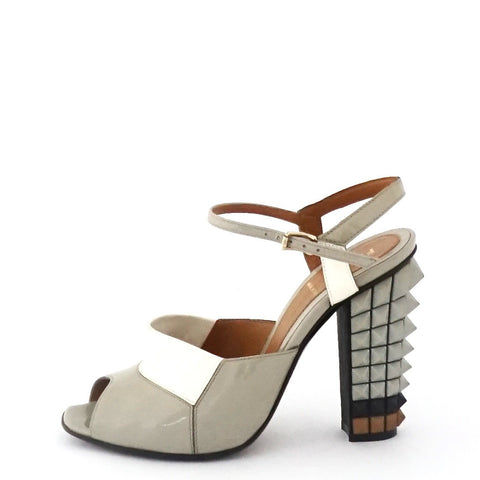 Fendi Grey Spike Sandals 36.5