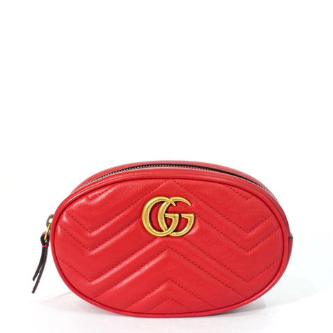 Gucci Red GG Marmont Belt Bag