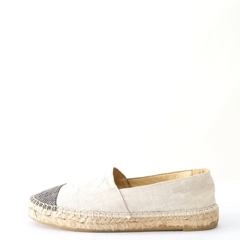 Chanel Off white Espadrille Flats 36