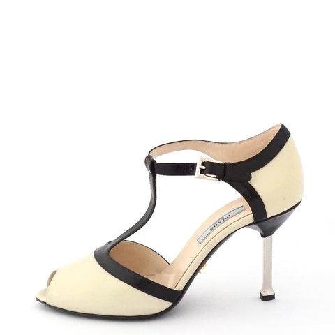 Prada Black White T-Strap Shoes 36