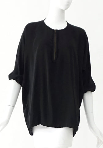 Vince Black Top with Zipper Detail XS