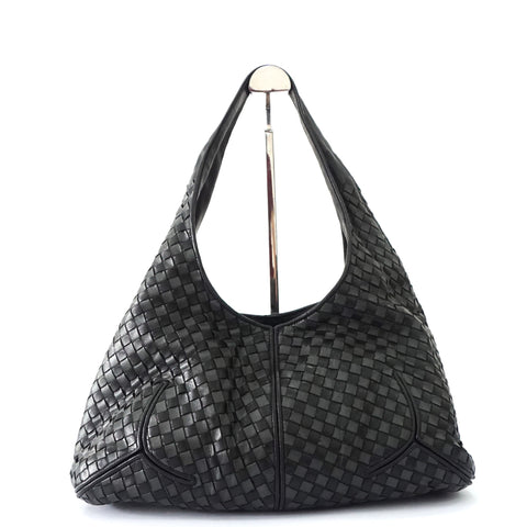 Bottega Veneta Black Grey Intreciatto Hobo Bag