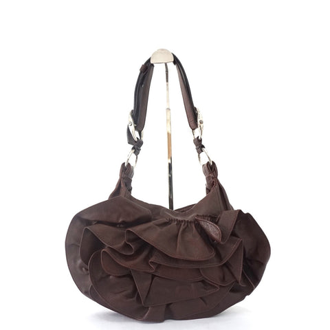 YSL Dark Brown Ruffles Shoulder Bag