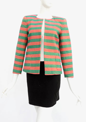 Stella Jean Pink and Green Striped Jacket 38