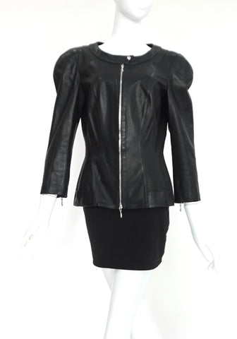 Thierry Mugler Black Leather Jacket 38