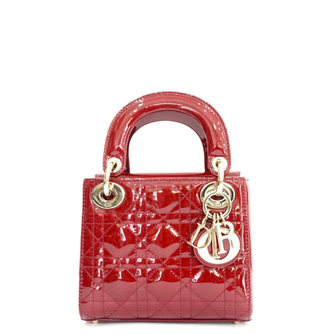 Christian Dior Oxblood Patent Micro Lady Dior Gold Hardware