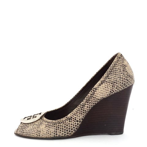 Tory Burch Python Wedge Pumps 8M