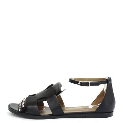 Hermes Black Embellished Santorini Sandals 39