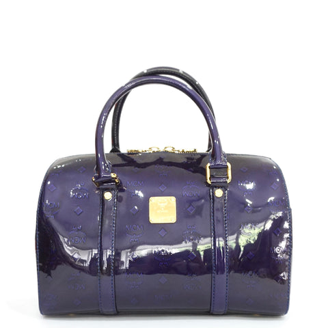 MCM Ivana Violet Patent Boston Bag