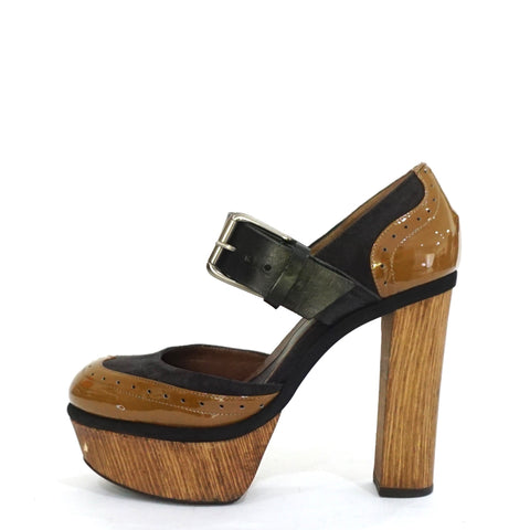 Marni Brown Black Platform Mary Jane Pumps 40