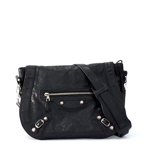 Balenciaga Black Classic Folk Messanger Bag