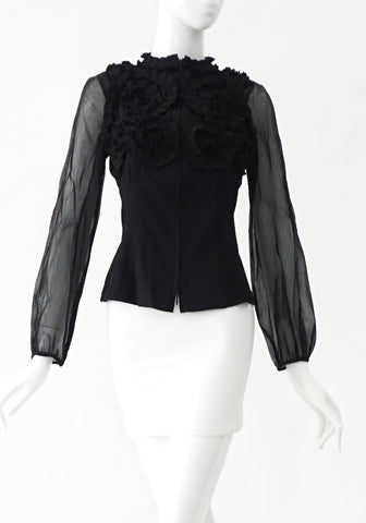 Anne Fontaine Black Rimples Tops 38