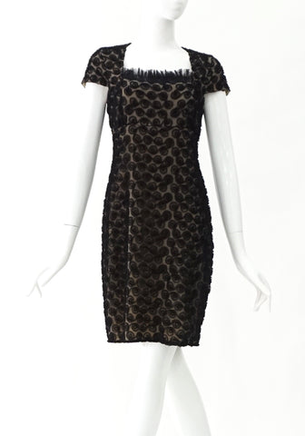 Anne Fontaine Beige with Black Roses Tille Dress 38