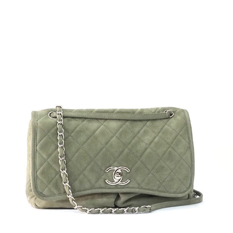 Chanel Light Gray Maxi Double Pocket Soft Flap Bag
