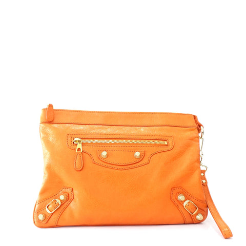 Balenciaga Orange Giant Gold Hardware Zipper Clutch