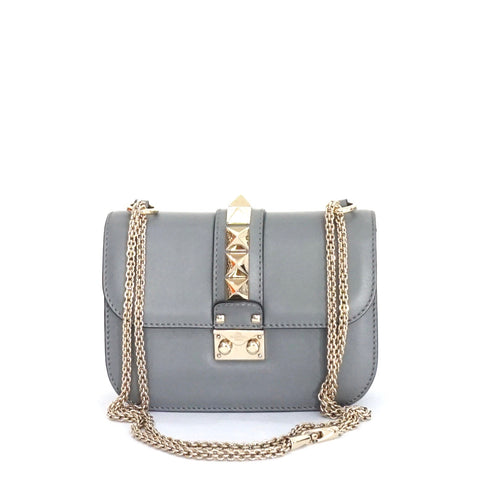 Valentino Grey Small Lock Flap Bag