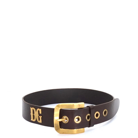 Dolce & Gabbana Brown Leather Gold Buckle Belt