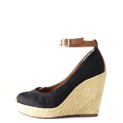 BCBGeneration Black Espadirlle Wedge Pumps 7.5M