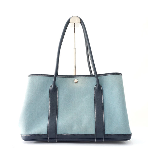 Hermes Garden Party Blue Canvas Tote Bag