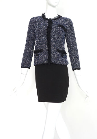 Dolce & Gabbana Navy and Silver Tweed Jacket 38