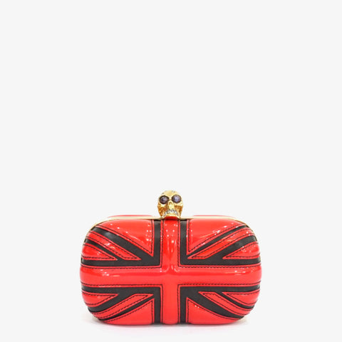 Alexander McQueen Red and Black Britannia Skull Box Clutch