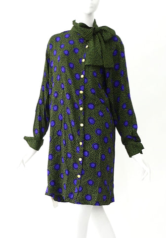 Celine Vintage Green Purple Dress 40