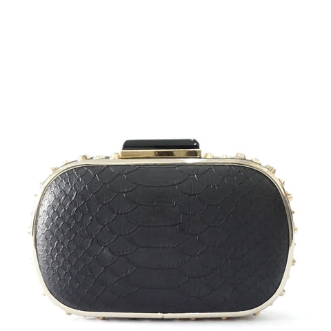 BCBG Maxazria Black Python Embossed Clutch