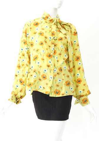 Celine Vintage Green Flower Tops